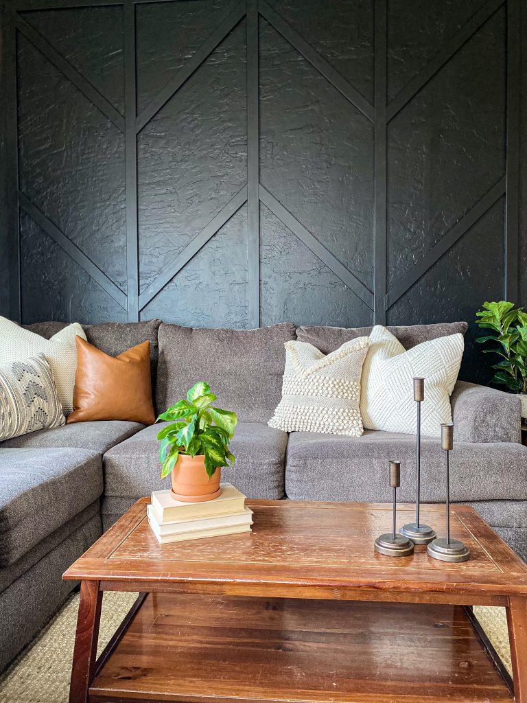 black wood herringbone wall